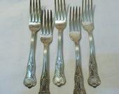Vintage 1977 International Silver Silverplate 7 1 8 Inch Breakfast Luncheon Buffet Salad Forks, Kings Pattern, No Monogram, 5 Pieces