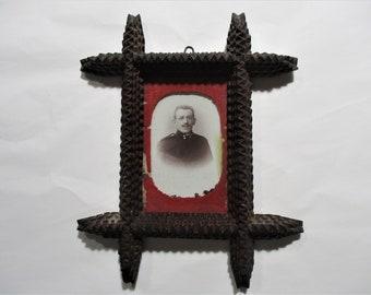 Early 20th Century Folk Art Early Tabletop Frame Vintage Tramp Art Frame