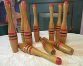 Antique Skittles Game, 1910s Early 20th Century Parlor 10 Pin Bowling Game, Ten 9.75 quot Solid Wood Pins with Worn Painted Stripes, No Ball
