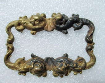 C-905 ANTIQUE BRASS Sea Serpent Scroll Cartouche Stamping ~ Floral Finding