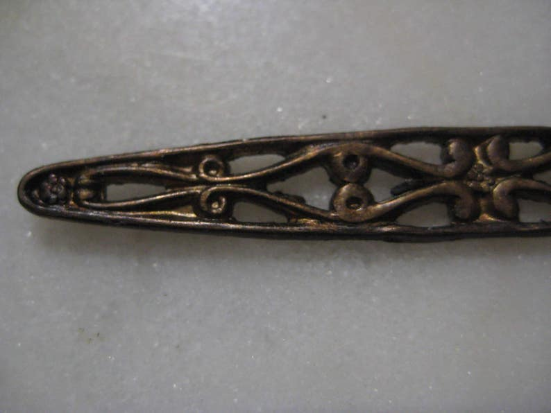 Antique Bar Pin Finding 1 pc. 62 x 8mm Detailed Open Work Filigree Bar Brooch Top Die Struck Raw Unplated Brass Vintage Jewelry Finding