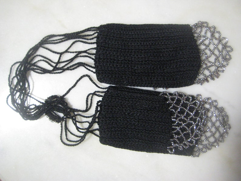 Beaded Cut Steel Mid to Late 1800/'s Victorian Antique  Black Crochet and Cut Steel Beaded Miser/'s Purse