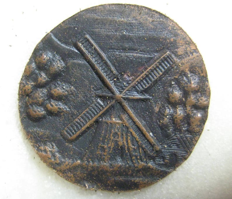 Antique ca 1900 Button Topper Rare Old Stock Jewelry Finding 1 pc. Flat 28mm Original Hand Die Struck Brass Component Country Windmill