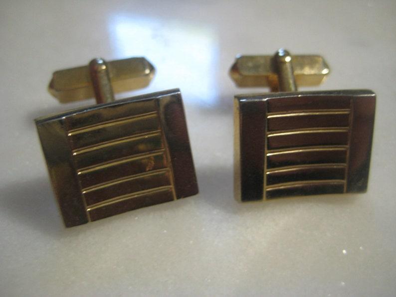 Men/'s Jewelry 1960s Mid-Century Swank Gold Tone Vintage Cuff Links 1 Pair 18mmx15mm