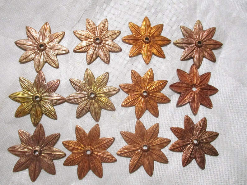 Vintage Copper Coated Stamped Steel Flower Blossom EmbellishmentsJewelry Components 2mm Center Hole 31mm Size 12 Pieces