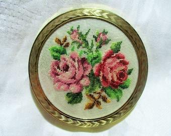 Vintage Petit Point Powder Compact, Floral Rose Needlepoint, Mirror, Powder Puff