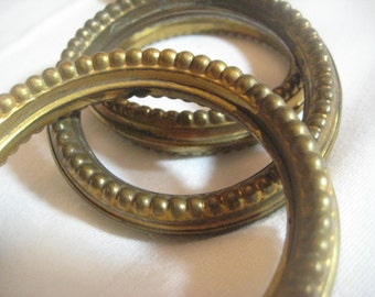 """Antique French Ornate Brass Ring; Hollow Stamped Brass Ring, Beaded Design, Jewelry Design, Drapery Replacement Hardware, 2 7/8"""", 1 piece"""