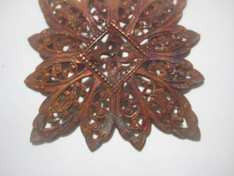 Die Struck Unplated Raw Brass Antique French Filigree 1920s Ornate Dapt FlowerSnowflake 1 pc Old Jewelry ComponentEmbellishment 46mm