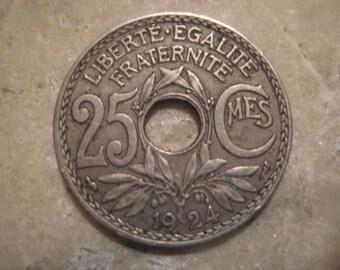 Vintage 1924 France, 25 Centime Coin