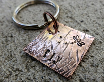 """Fly - Textured Hand Stamped 3/4"""" Square keychain"""