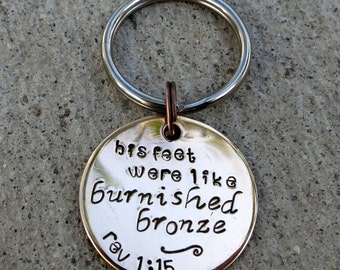 Feet were Burnished Bronze Revelation - Hand Stamped Scripture Christian keychain