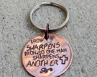 Iron sharpens Iron  Prov 27:17 - Hand Stamped Christian gift