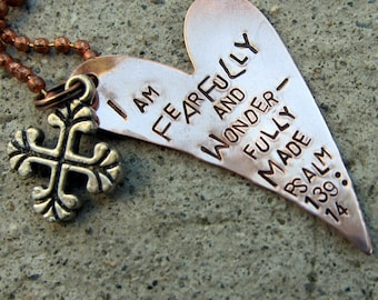 Fearfully and wonderfully made Bible Verse Necklace Psalm 139:14 - Hand Stamped Scripture