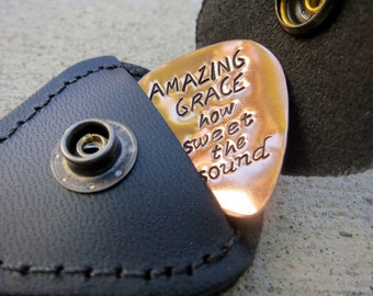 Amazing Grace Christian Hymn lyrics - playable Guitar pick plus leather keychain - Made to Order-