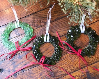 Wreath Ornament, Recycled Fused Glass, Christmas Ornament, Upcycled Repurposed Glass, House Warming Gift, Stocking Suffer, Christmas Present