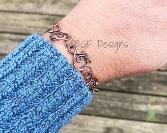 Copper Bracelet, Handmade Forged Links, Fine Silver Wire Accents, Hammered Copper Links, Stocking Stuffer, Christmas Present, Gift for Her