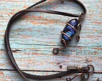 Blue Dichroic Glass Wire Wrapped Necklace, Rustic Fashion Accessories, Christmas Present, Stocking Stuffer, Gift for Her, Birthday Present