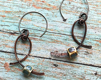 Copper Dangle Earrings, Hammered Wire with Ceramic Bead Accents, Stocking Stuffer, Gift for Her, Christmas Present, Handmade Rustic Jewelry