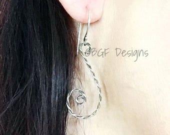 Bronze Earrings, Bronze Wire Hammered Swirl Dangle Earrings, Stocking Stuffer, Gift for Her, Christmas Present, Handmade Bronze Jewelry