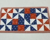 Patriotic Mini Quilt, Pinwheel Table Mat, Quilted Mug Rug Mug Mat, Red White Blue Quilted Table Topper, Toilet Tank Topper, Americana Décor