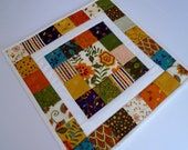Quilted Table Topper in Fall Autumn Colors, Fall Quilted Table Runner, Fall Decor, Thanksgiving Table Quilt, Patchwork Quilted Table Runner