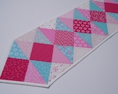 Quilted Table Runner Pink and Aqua, Spring Flowers Quilted Table Topper, Valentines Day Decor, Floral Dresser Scarf, Feedsack Table Mat