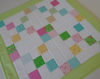 Retro Quilted Table Topper, Spring Summer Table Quilt, Vintage Style Quilted Table Runner, Quilted Candle Mat, Pastel Patchwork Table Mat