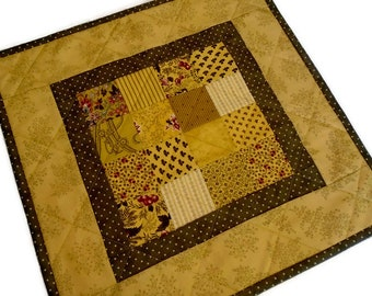 Quilted Table Topper in Gold and Brown, Country Decor, Handmade, Quilted Table Runner, Coffee Table Runner