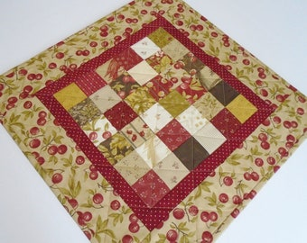 Quilted Table Topper, Fall Quilted Table Runner, Patchwork Table Quilt, Country Decor, Quilted Candle Mat, Cherries Table Mat, Fall Cherries