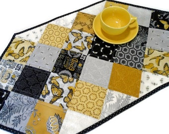 Modern Quilted Table Runner in Black and Gold, Quilted Table Topper Butterflies and Bees, Butterfly Table Quilt, Reversible Table Runner