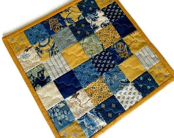 Quilted Table Topper, Blue and Gold Candle Mat, Country Decor, Handmade, Quilted Table Mat