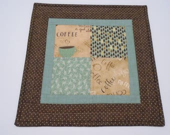 Quilted Table Topper,  Coffee Lover Quilted Table Runner, Coffee Theme Decor, Coffee Table Quilt, Quilted Candle Mat