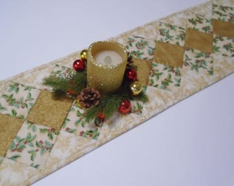 Quilted Christmas Table Runner, Winter Christmas Quilted Table Runner, 67 Inch Long Table Runner, Gold Table Runner,  Christmas Decor
