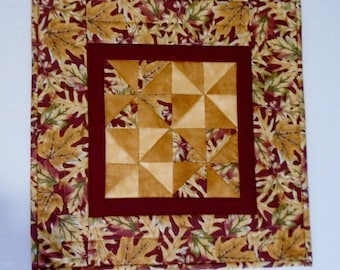 Quilted Table Topper Rustic Fall Leaves, Autumn Quilted Table Runner, Thanksgiving Table Quilt, Pinwheel Table Topper, Square Table Topper