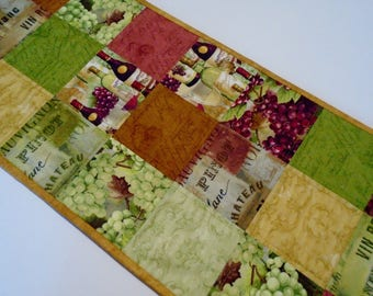 Quilted Table Runner Wine Lovers, Wine Theme Table Runner Earth Tones, Quilted Table Topper, Wine Country Quilted Table Runner,  Wine Grapes