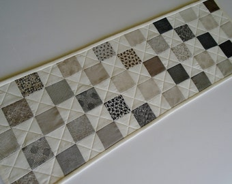 Modern Quilted Table Runner, Quilted Table Topper in Black Gray Ivory, Contemporary Table Quilt, Coffee Table Runner, Masculine Decor