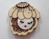 SALE Sleepy Oyster (Grande Edition) Wearable Art Brooch by Winnifreds Daughter
