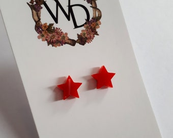 Twinkle Twinkle Stud Earrings in 'Ruby Kiss' by Winnifreds Daughter
