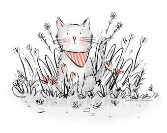 PRINT Garden Cat