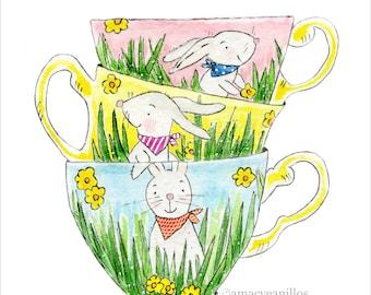 PRINT Bunny Tea Cups