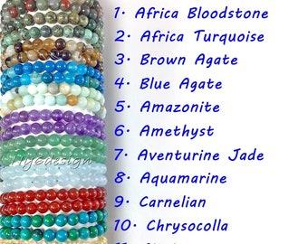 New Looper Jewelry Women 6mm Round Beads 7 Chakra Healing Stone Drop Earrings