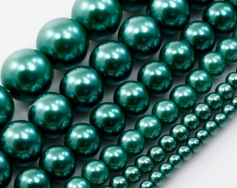 jewellery making over 200 beads 4mm Glass faux Pearls strand Emerald Green