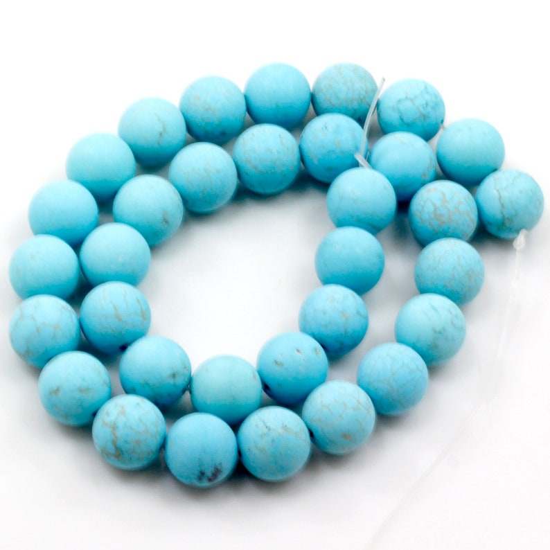 Full inch Strand Jewelry Necklace Bracelet Frosted Bead USA Gemstone Blue Magnesite Turquoise Matte Round Loose Beads 15 4 6 8 10 12
