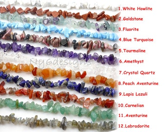 "Bulk Natural Gemstone Chip Beads | Assorted Stones 34"" Strand Beads Crystal Gemstone Chip Necklaces Irregular Shaped Freeform Jewelry Making"