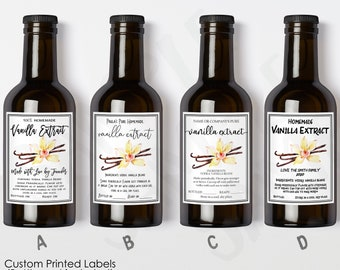 Custom Vanilla Extract Labels, Printed Vanilla Extract Stickers, Personalized Homemade Vanilla Extract, Business / Product Label, Glossy