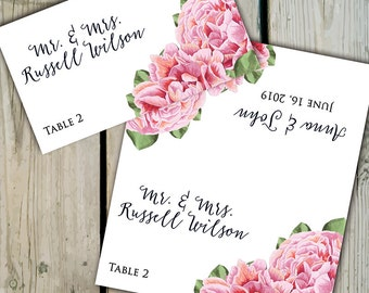 30 Custom Pink Peony Place Cards / Escort Cards - Personalized Floral Pink Peony Wedding Seating Cards / Showers - Peonies - Spring / Summer