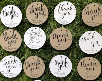 Thank You Tags / Wedding Favor Tags - Classic / Rustic Favor Tags - White / Kraft Round Personalized Gift Tags / Party Tags / Business Tags