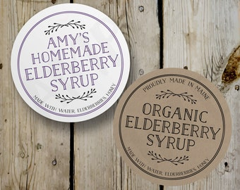 Custom Elderberry Syrup Labels, Vintage Homemade Elderberry Syrup Round Stickers, Printed Bottle Labels, Personalized Product Labels Kraft