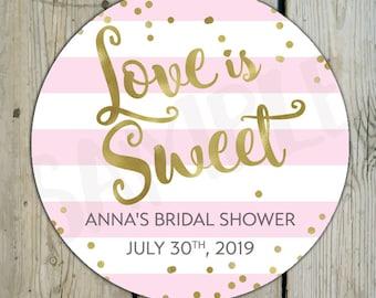 Faux Gold Foil & Pink Stripes Bridal Shower Love is Sweet Label, Custom Bridal Shower Sticker, Personalized Pink Shower Label Candy Favor