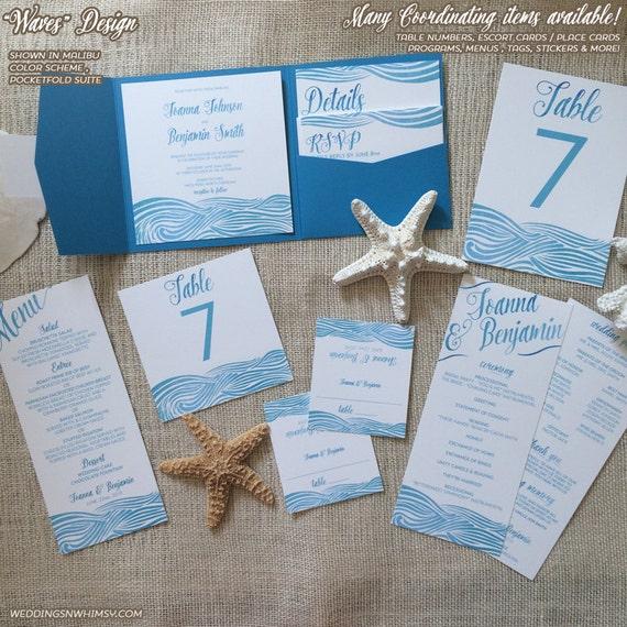 Waves Beach Wedding Invitation - Watercolor Ocean Waves - Destination  wedding, Seaside Wedding Pocketfold Invitation / Invite Sample Suite